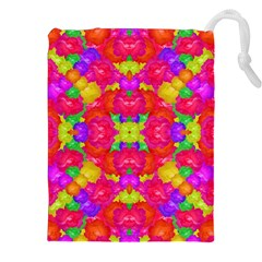 Multicolor Floral Check Drawstring Pouches (XXL)