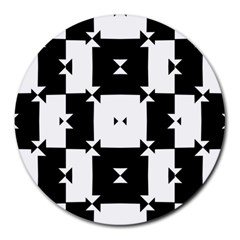 Black And White Check Pattern Round Mousepads
