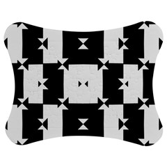 Black And White Check Pattern Jigsaw Puzzle Photo Stand (Bow)