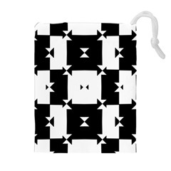 Black And White Check Pattern Drawstring Pouches (extra Large)