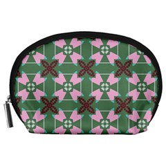 Pink Brown Flowers Pattern     Accessory Pouch