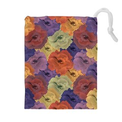Vintage Floral Collage Pattern Drawstring Pouches (extra Large)