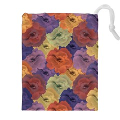 Vintage Floral Collage Pattern Drawstring Pouches (XXL)