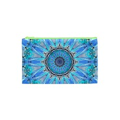 Sapphire Ice Flame, Light Bright Crystal Wheel Cosmetic Bag (xs)