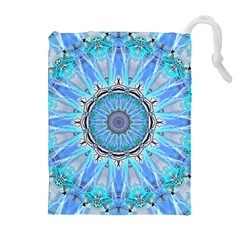 Sapphire Ice Flame, Light Bright Crystal Wheel Drawstring Pouches (Extra Large)