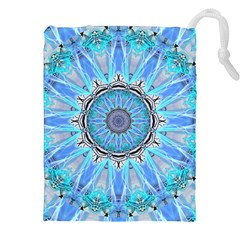 Sapphire Ice Flame, Light Bright Crystal Wheel Drawstring Pouches (XXL)