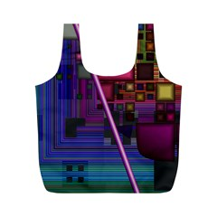 Jewel City, Radiant Rainbow Abstract Urban Full Print Recycle Bags (m)