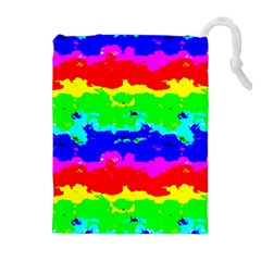 Colorful Digital Abstract  Drawstring Pouches (Extra Large)