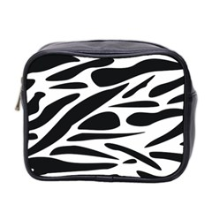 Zebra Stripes Skin Pattern Black And White Mini Toiletries Bag 2 Side