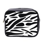 Zebra Stripes Skin Pattern Black And White Mini Toiletries Bag 2-Side Front