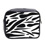 Zebra Stripes Skin Pattern Black And White Mini Toiletries Bag 2-Side Back