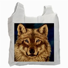 Wolf White Reusable Bag (two Sides)