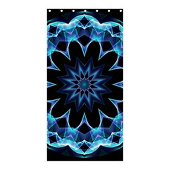 Crystal Star, Abstract Glowing Blue Mandala Shower Curtain 36  X 72  (stall)