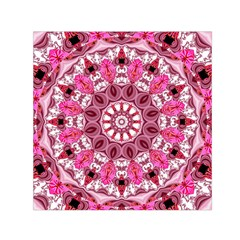 Twirling Pink, Abstract Candy Lace Jewels Mandala  Small Satin Scarf (square)