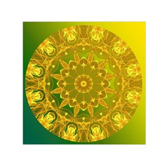 Yellow Green Abstract Wheel Of Fire Small Satin Scarf (square)