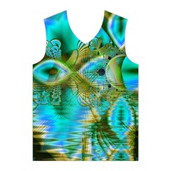 Crystal Gold Peacock, Abstract Mystical Lake Men s Basketball Tank Top
