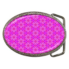 Pink Snowflakes Spinning In Winter Belt Buckles
