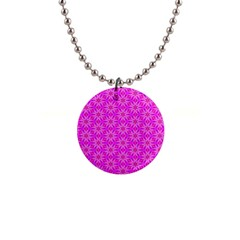 Pink Snowflakes Spinning In Winter Button Necklaces