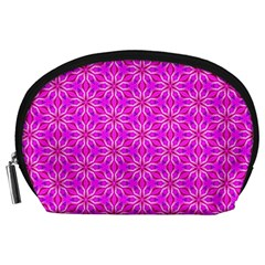 Pink Snowflakes Spinning In Winter Accessory Pouches (Large)