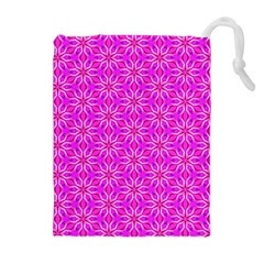 Pink Snowflakes Spinning In Winter Drawstring Pouches (Extra Large)