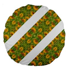 Indian Floral Pattern Stripes Large 18  Premium Round Cushions
