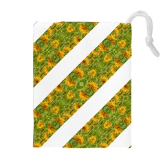 Indian Floral Pattern Stripes Drawstring Pouches (Extra Large)