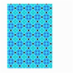 Vibrant Modern Abstract Lattice Aqua Blue Quilt Large Garden Flag (two Sides)