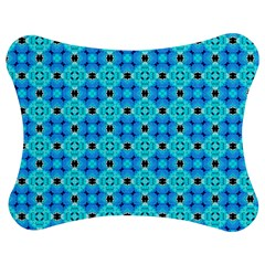 Vibrant Modern Abstract Lattice Aqua Blue Quilt Jigsaw Puzzle Photo Stand (Bow)