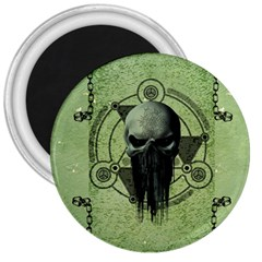 Awesome Green Skull 3  Magnets