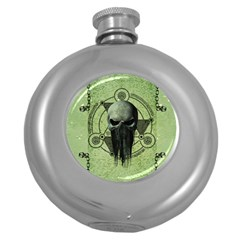 Awesome Green Skull Round Hip Flask (5 Oz)