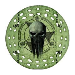 Awesome Green Skull Round Filigree Ornament (2side)