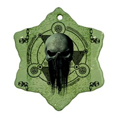 Awesome Green Skull Snowflake Ornament (2 Side)