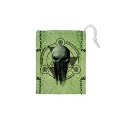 Awesome Green Skull Drawstring Pouches (XS)