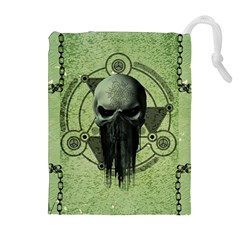 Awesome Green Skull Drawstring Pouches (extra Large)