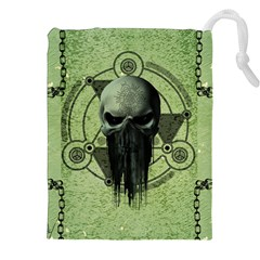 Awesome Green Skull Drawstring Pouches (XXL)