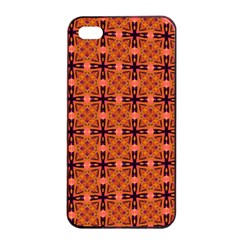 Peach Purple Abstract Moroccan Lattice Quilt Apple Iphone 4/4s Seamless Case (black)