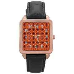 Peach Purple Abstract Moroccan Lattice Quilt Rose Gold Leather Watch