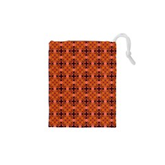 Peach Purple Abstract Moroccan Lattice Quilt Drawstring Pouches (xs)