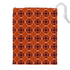 Peach Purple Abstract Moroccan Lattice Quilt Drawstring Pouches (XXL)