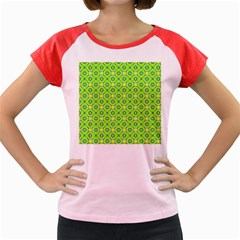 Vibrant Abstract Tropical Lime Foliage Lattice Women s Cap Sleeve T Shirt