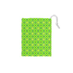 Vibrant Abstract Tropical Lime Foliage Lattice Drawstring Pouches (XS)