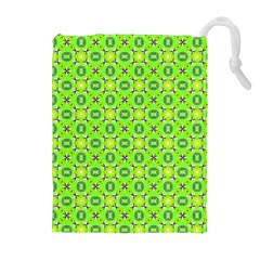 Vibrant Abstract Tropical Lime Foliage Lattice Drawstring Pouches (Extra Large)