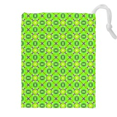 Vibrant Abstract Tropical Lime Foliage Lattice Drawstring Pouches (xxl)