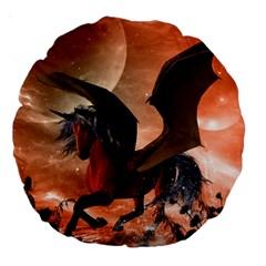 Wonderful Dark Unicorn In The Night Large 18  Premium Round Cushions
