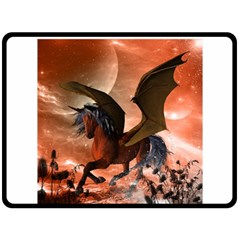 Wonderful Dark Unicorn In The Night Double Sided Fleece Blanket (large)