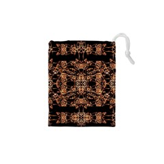 Dark Ornate Abstract  Pattern Drawstring Pouches (xs)