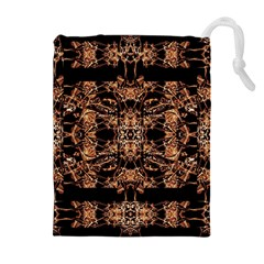 Dark Ornate Abstract  Pattern Drawstring Pouches (extra Large)