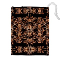 Dark Ornate Abstract  Pattern Drawstring Pouches (XXL)