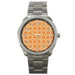 Peach Pineapple Abstract Circles Arches Sport Metal Watch Front