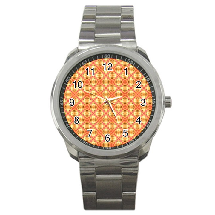 Peach Pineapple Abstract Circles Arches Sport Metal Watch